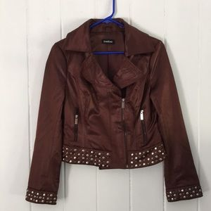 Bebe Moto Jacket with Side Zip and Metal Grommets